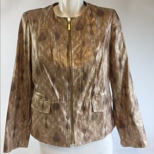 New Chico's Brushstroke/Golden shine Jacket Sz0